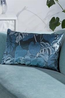 Бархатная подушка с тропическим принтом
