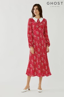 Ghost Kelsea Scattered Floral Print Crepe Dress