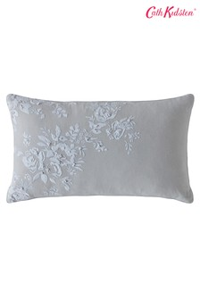 Cath Kidston灰色復古繡花花卉棉質靠墊