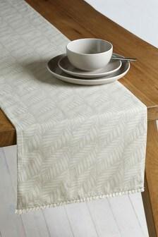 مفرش طاولة لون طبيعي ورق شجر