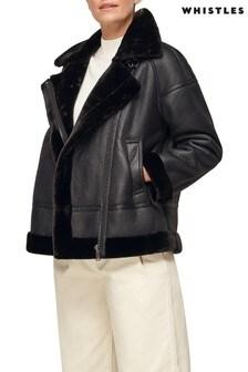 Whistles Faux Fur Biker Jacket