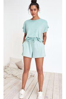 Pantalones cortos en tejido rizado de algodón