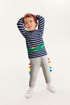Футболка с длинным рукавом с аппликацией крокодила и спортивные брюки (комплект) (3 мес.-7 лет)