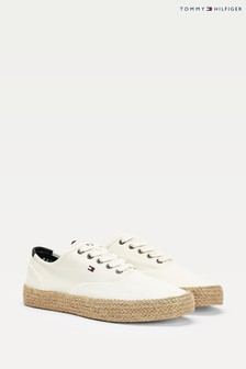 Tommy Hilfiger Cream Oxford Twill Jute Trainers
