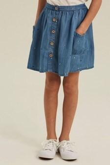 FatFace Blue Kara Spot Skirt