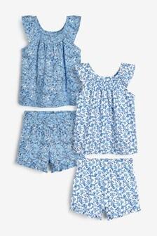 フローラル ショート パジャマ 2 枚組 (9 か月~8 歳)