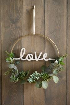 Wieniec z eukaliptusa z napisem Love