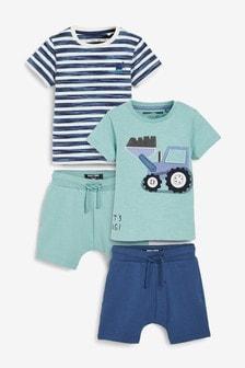 4 Pack Digger T-Shirt And Shorts Set (3mths-7yrs)