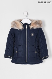 River Island Navy Matte Harvey Padded Jacket