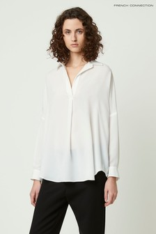 French Connection Rhodes Crepe Pop-Over Shirt