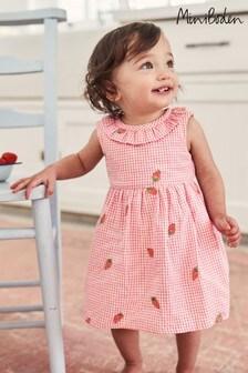 Boden Kleid mit Stickerei und Vichy-Karos, Pink