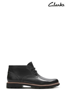 Clarks Black Leather Batcombe Lo Boots