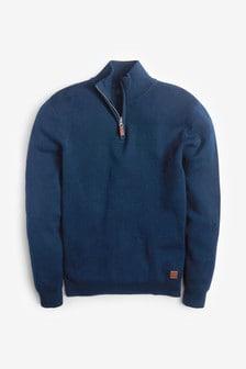 Premium-Pullover aus Baumwolle mit RV-Kragen
