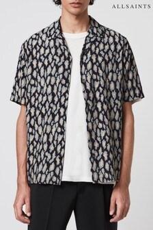 AllSaints Black Printed Catamere Shirt