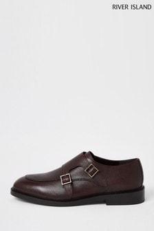 נעלי נזיר עם רצועת אבזם כפולה דגם Apronבאדום כהה שלRiver Islands