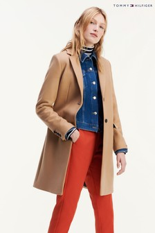 Tommy Hilfiger Essential Klassischer Mantel aus Wollmischung, Kamelbraun