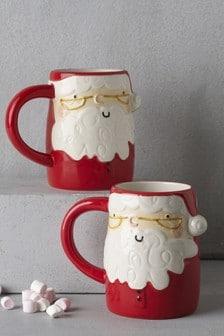 Set of 2 Santa 3D Mugs
