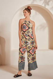 All Over Print High Neck Jumpsuit