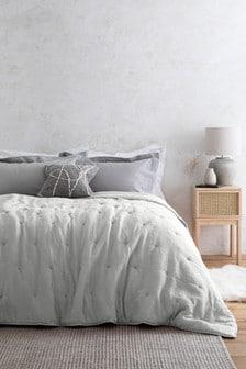 Grey Textured Crinkle Bedspread