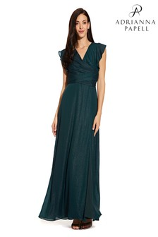 Adrianna Papell Green Metallic Chiffon Dress