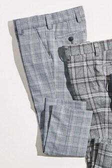 Pantalon habillé court à carreaux (3-16 ans)