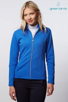 Green Lamb Blue Kami Cable Full Zip Top