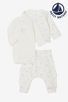 Белый комплект из трех предметов с цветочным рисунком для малышей Petit Bateau