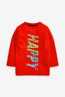Tričko s dlhými rukávmi a dúhovým nápisom Happy (3 mes. – 7 rok.)