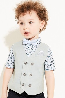 Double Breasted Waistcoat, Shirt And Bow Tie Set (3mths-7yrs)