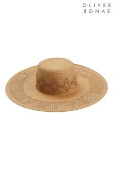 Oliver Bonas棕色鏤空草編帽