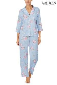 Set pijama din satin cu bluză cu tăietură în V la guler Lauren Ralph Lauren