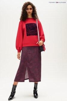 Tommy Hilfiger Red Kacy Floral Midi Skirt