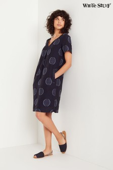 White Stuff Blue Ondine Jacquard Spot Dress