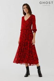 Ghost Jacinta Rose Print Georgette Midi Dress