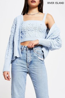 River Island Blue Light Knitted Cardi And Bralette Set