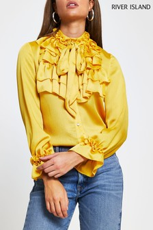 River Island Yellow Dark Frill Neck Blouse