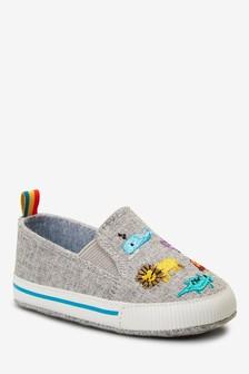 Zapatos de preandante sin cierres con diseño de animal (0-24 meses)