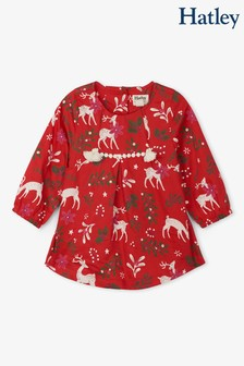Czerwona sukienka w jelenie na imprezę Hatley