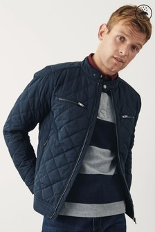 Shower Resistant Diamond Quilted Racer Jacket (892472) | $94