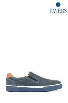 Pavers Navy Leather Men's Slip-On Trainers