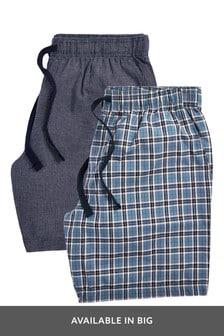 מארז שני מכנסים פיג'מה קצרים קלילים בהדפס משבצות
