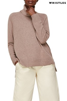 Whistles Oatmeal Cashmere Roll Neck Jumper