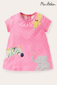 Boden粉色叢林動物圖案平織連衣裙