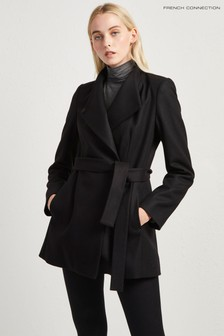 French Connection Black Platform Felt Crossover Coat