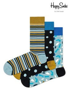 Happy Socks Blue Multi Stripe Socks Three Pack