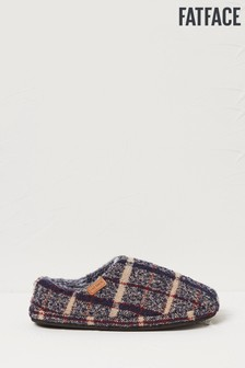 FatFace Blue Maddox Textured Check Mules