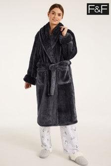 F&F Black Silky Robe