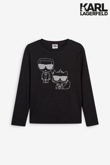 Karl Lagerfeld Black Karl And Cat Long Sleeved T-Shirt