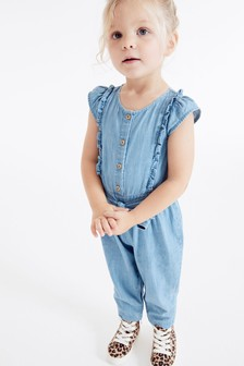 Denim jumpsuit met ruches (3 mnd-10 jr)