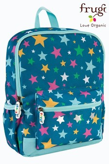 Frugi Blue Recycled Star Print Backpack